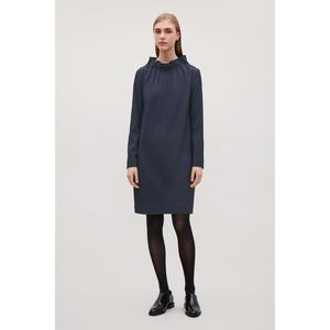 COS navy Collapsable Neckline long sleeve dress